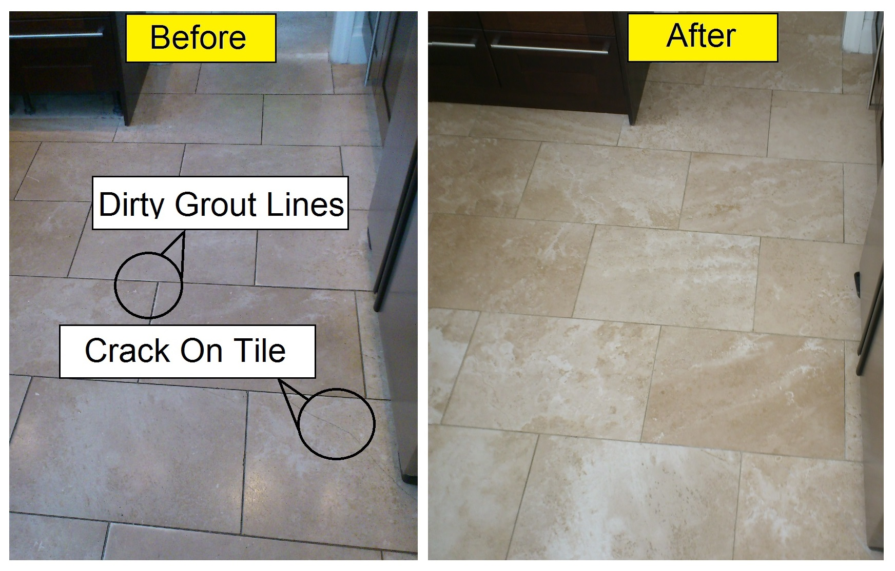Slate floor tile cleaning bond stone cleaning polishing travertine floor before after images doublecrazyfo Choice Image