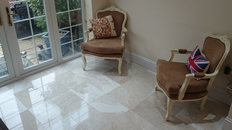 Marble Floor Cleaned, Polished And Sealed