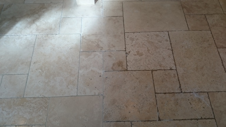Travertine Floor During Cleaning