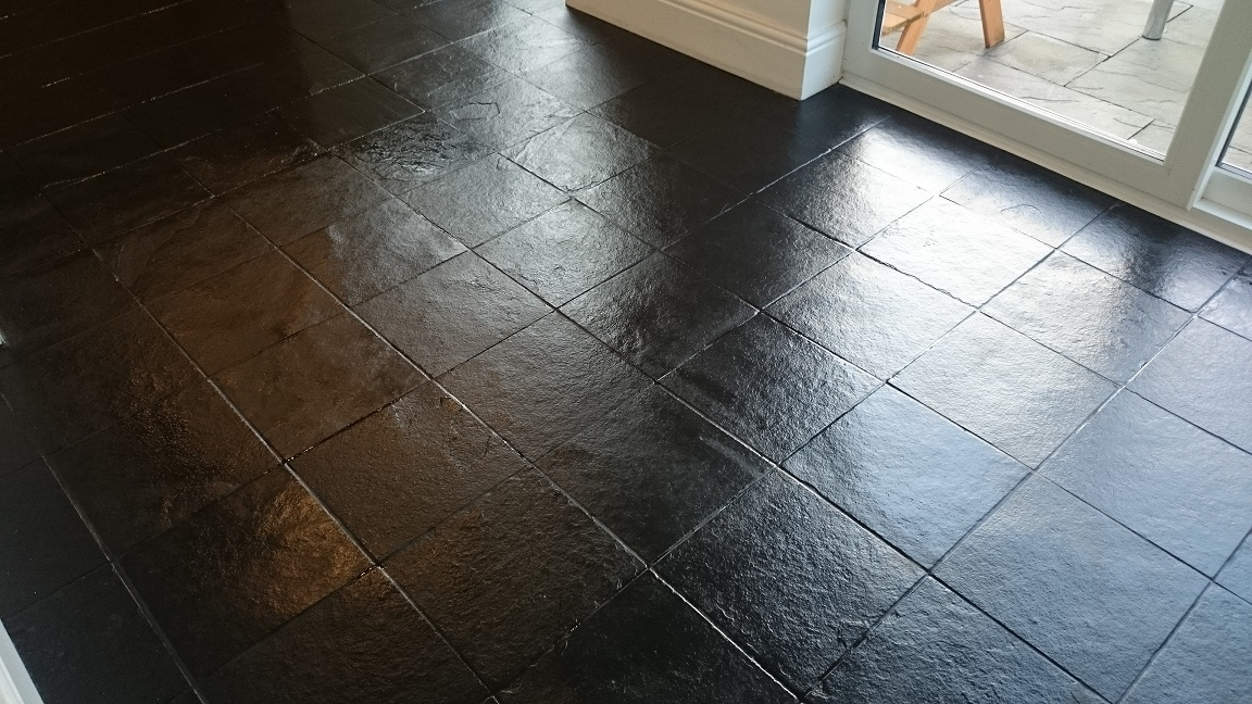 Black Slate Floor Tile Cleaning and Sealing